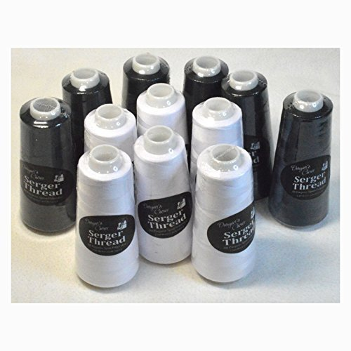 Set of 12 Black & White Serger Embroidery Thread Cones by Allary by Designers Choice