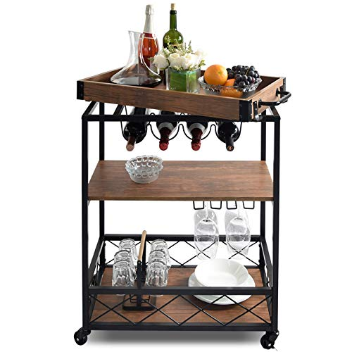 NSdirect Kitchen CartKitchen BarampServing Cart Rolling Utility Storage Cart with 3Tier ShelvesMetal Wine Rack Storage and Glass Bottle HolderRemovable Wood Top Box Container with Hook RackBrown