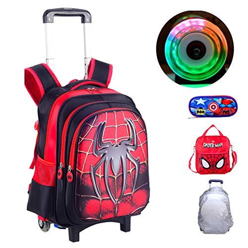 MODRYER Bambini Zaino Superhero Sacchetto di Scuola elementare Studenti Zaino Student Daypack Kid Trolley 2 Ruote con Luce,Spiderman-43 * 32 * 22cm