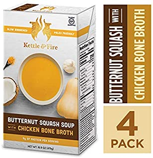Butternut Squash Chicken Bone Broth Soup by Kettle and Fire, Pack of 4, Gluten Free Collagen Soup on the Go, Paleo, 9 g of protein, 16.9 fl oz