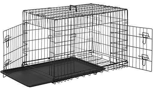 BestPet Dog Crate Dog Cage Pet Crate Folding Metal 24 Inch Pet Cage Double Door W/Divider Panel Wire Animal Cage Dog Kennel Leak-Proof Plastic Tray