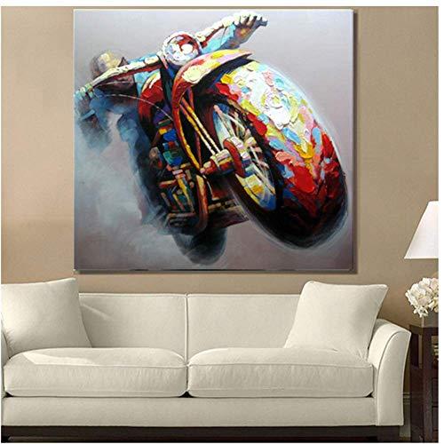A&D schilderen moderne Ghost auto schilderen motorfiets op canvas abstract schilderij Pop-Art goedkope modern schilderij 50x50cm No Frame