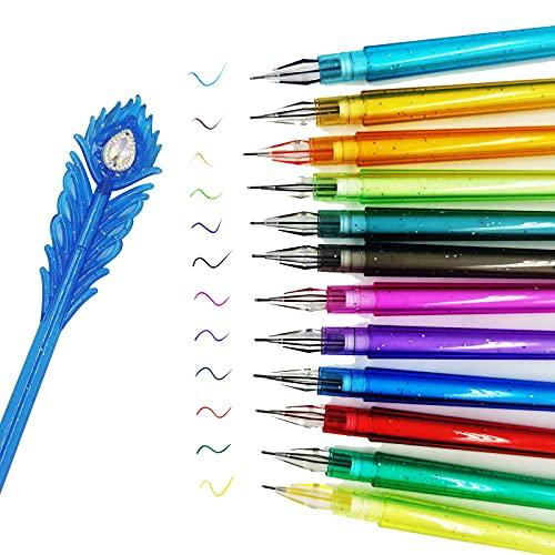 DUGYIRS 12 Piezas Bolígrafos de Gel 0.38 mm 12 Colores Pluma de Tinta de Gel Pavo Real Pluma con Punta de Diamante Colorante Plumas por Oficina Colegio Cuadro Colorante Libros Bala Llevar un Diario