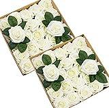 Tebery 50 pcs Rose Artificielle Fausse Fleur Blanche Tige Feuille Ajustable Touche réelle déco Mariage Restaurant Maison Anniversaire Chambre