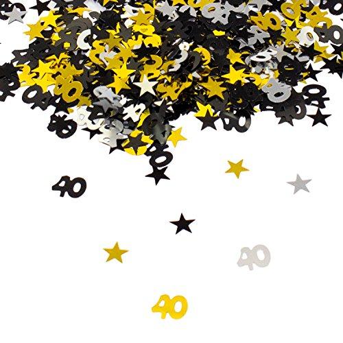 Oblique Unique® 40. Geburtstag Jubiläum Konfetti Gold Silber Schwarz Sterne Tisch Deko 500 Stück