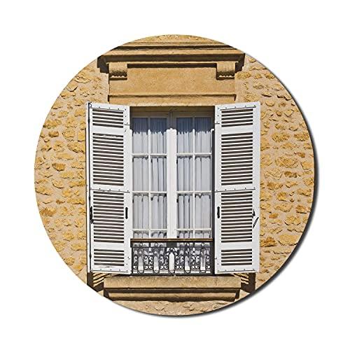 Alfombrilla de ratón Country para ordenadores, persianas de ventana de estilo francés tradicional con estampado antiguo de estilo europeo bohemio, alfombrilla de ratón redonda antideslizante de goma g