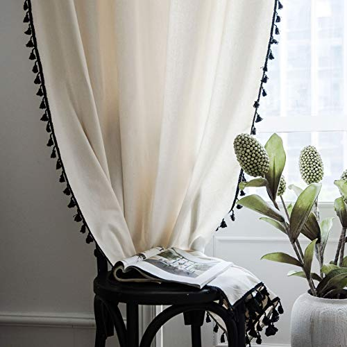 """SUCSES Semi Blackout Boho Curtains, Cotton Linen Farmhouse Room Darkening Window Curtain Panels, Ivory White Country Style Black Tassel Drapes for Living Room Bedroom, 59"""" x 94"""", 1 Panel"""