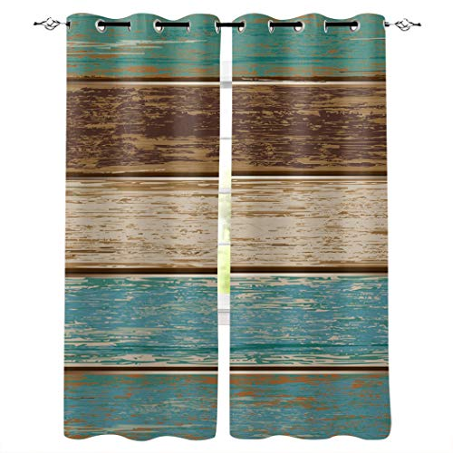 DAOB Draperies & Curtains Panels for Living Room Bedroom Retro Rustic Barn Wood Teal Green Brown Window Curtains for Home Kitchen - Set of 2 Panels, 80' W by 63' L