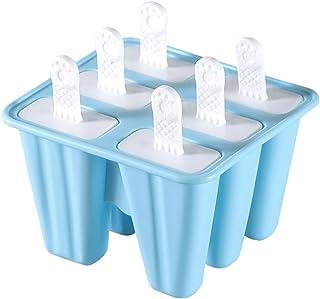 NATUCE 6PCS Azul Moldes para Helados de Silicona, Moldes para Hielo, Moldes de Polos Libre de BPA y Reutilizable, Molde de paletas de Hielo, Cocina de Verano Moldes para Hielo congelados Herramientas