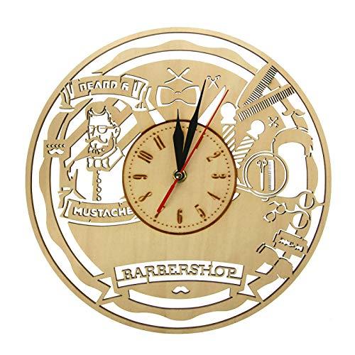 Relojes de Pared Vintage Barber Shop de Madera Salón de Belleza Arte de la Pared Decoración Reloj de Barrido silencioso Reloj Peluquería Regalo Afeitado Herramientas de barbero