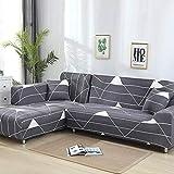 WXQY Funda de sofá geométrica, Funda de Tela de algodón, Funda de sofá, Funda de sofá elástica para Sala de Estar, Funda de sofá Chaise Longue en Forma de L A6 4 plazas