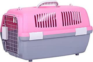 HAORI Pet Carrier Dog Cage, Top Dual Sunroof Design Folding Animal Carrier Travel Cage Household and Car Pet Folding Cage Carrier Basic Crates, Great for Travel, Home and Outdoor