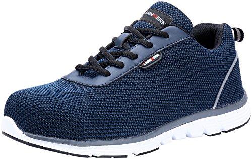 Zapatos de Seguridad para Hombre,LM-30 Punta de Acero Ultra Liviano Zapatillas de Trabajo Reflectivo Transpirable