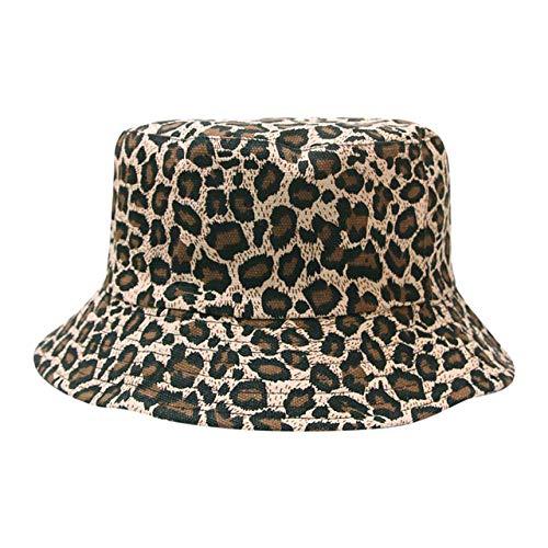 QND,Sombrero,Gorra de Lavabo Unisex para Mujer, Sombrero de Pescador con Estampado de Leopardo a la Moda, Sombrero de Cubo Informal de Hip Hop para Viajes al Aire Libre al Aire Libre