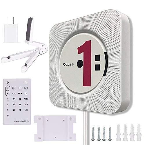 XMAGG HAKNG®CD Player Bluetooth an der Wand montierbaren tragbaren CD-Musik-Player mit Fernbedienung für Kinder,FM-Radio Eingebauter HiFi-Lautsprecher, Unterstützt USB/MP3/3,5 mm Kopfhörerbuchse