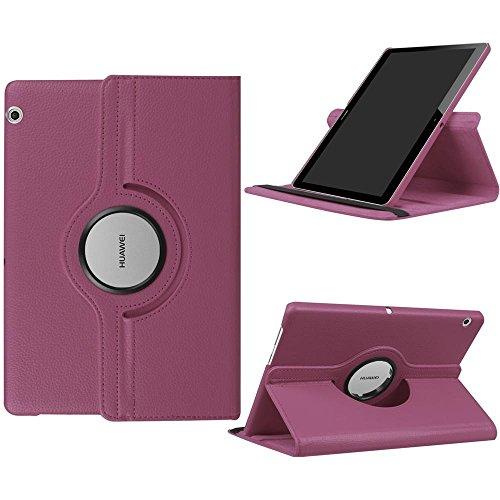 DETUOSI Fundas Huawei MediaPad T3 10 Funda de Cuero Giratoria 360 Grados Smart Case Cover Protectora Carcasa con Stand Función para Tablet Huawei T3 10 Pulgadas -Púrpura