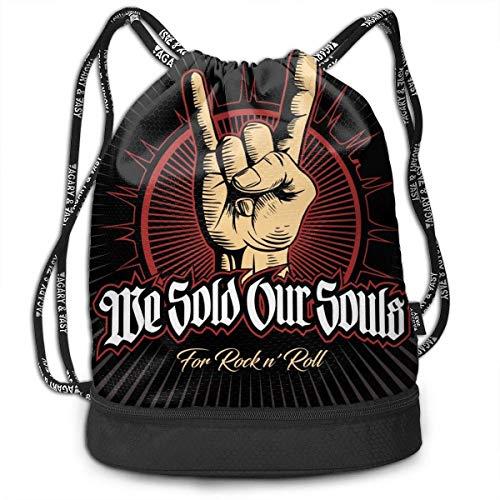 Arvolas Mochila Bolsa con cordón Hard Rock, Heavy Metal, Signo de los Cuernos, Mano de Signo de Roca, Logotipo de Vector de Roca. Bolsos con cordón de Gimnasio