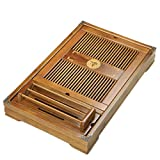 Tea Talent Reservoir & Drainage Type Solid Wood Tea Tray - Japanese/Chinese Gongfu Tea Table Serving Tray Box for Kungfu Tea Set 21.2 x 13.4 x 2.36 Inch, Original Color