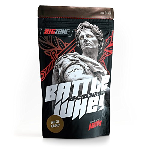 Big Zone BATTLE WHEY | Whey Protein Concentrate Eiweiss | Lecker Qualität Made in Germany | 1000g 1KG Pulver (Milch Kakao)