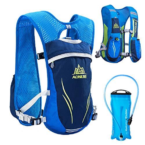 TRIWONDER Hydration Pack Backpack 5.5L Outdoors Mochilas Trail Marathoner Running Race Hydration Vest (Blue - with 2L TPU Water Bladder)