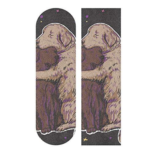 MNSRUU Skateboard-Griffband, 1 Stück, romantisch, zarte Hunde, für Paare, Roller, Deck, Sandpapier, 22,9 x 83,8 cm