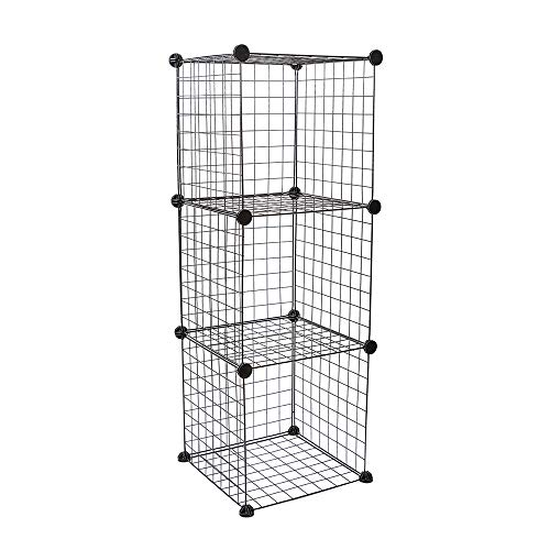 Metal Wire Cube Storage, Stackable Storage Bins, Modular Bookcase, Multi-Use DIY Storage Cube Shelf, for Books, Toys, Clothes, Tools,Set of 3