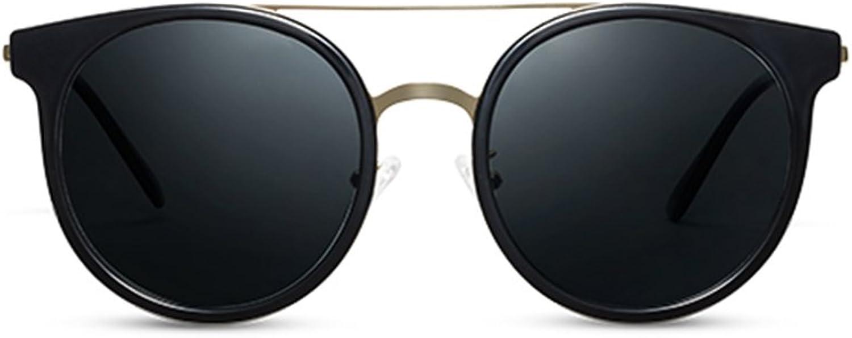 GAOYANG Retro Round Frame Sunglasses Polarizer Driving Mirror Metal Fighting Closeup Sunglasses Tide Mirror ( color   Bright black )