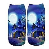 YWLINK Calcetines Halloween Calcetines Cortos Mujer 3D ImpresióN Calcetines Tobilleros para Mujer Y Hombre Unisex Suave Calcetines De AlgodóN Antideslizantes Respirable Calcetines (E4, M)