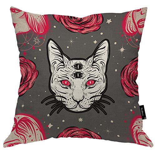 Seemuch Funda de cojín con diseño de bruja oscura con cuatro ojos rosados y rosas rojas, diseño mágico, duradero de algodón y lino para dormitorio, oficina, 60 x 60 cm