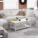 Homfa Couchtisch Wohnzimmertisch 110x53x45cm Beistelltisch Sofatisch Kaffeetisch Holz weiß - 5
