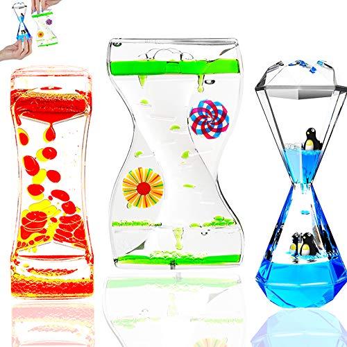 3Types Sensory Fidget Toys Liquid Motion Bubbler Liquid Timers for Kids Teenager Adult Small Calming Toy Autism ADHD Fidget Toys(3PCS Types Liquid Bubbler)