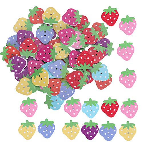 Color‑Painted 150Pcs Buttons Lovely Cartoon Buttons Durable Wooden Strawberry Buttons for Clothing Sewing Accessories Decoration