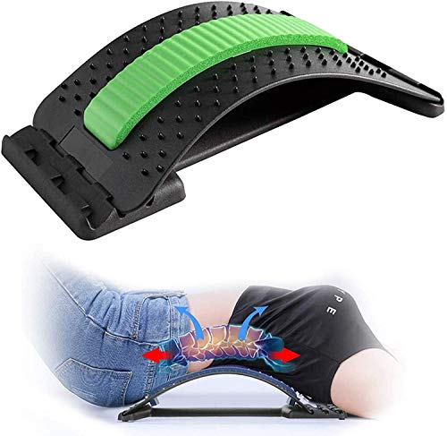 Back Stretching Device,Back Massager for Bed & Chair & Car,Multi-Level Lumbar Support Stretcher Spinal, Lower and Upper Muscle Pain Relief