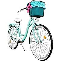 """Milord. 2018 Cómoda Bicicleta de ciudad con una Canasta, Bicicleta, 1 Velocidad, Rueda de 26"""", Aqua"""