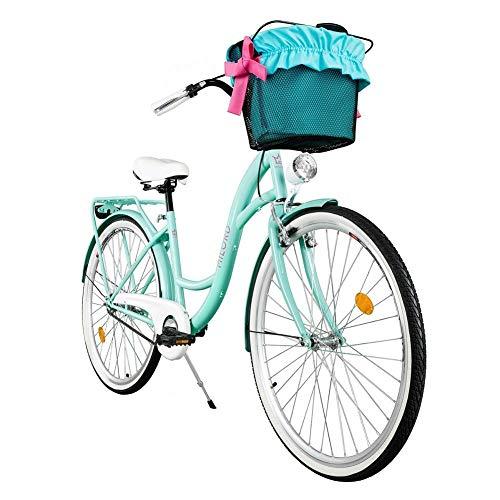 Milord. 2018 Cómoda Bicicleta de ciudad con una Canasta, Bicicleta, 1 Velocidad, Rueda de 26, Aqua
