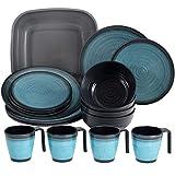 Melamin Geschirr für 4 Personen in Blau Granit-Optik 17 Teile - mit Waschschüssel - mit je 4 großen Teller, 4 Dessertteller, 4 Schälchen, 4 Tassen - sehr robust dickwandig - farbecht - modernes Design