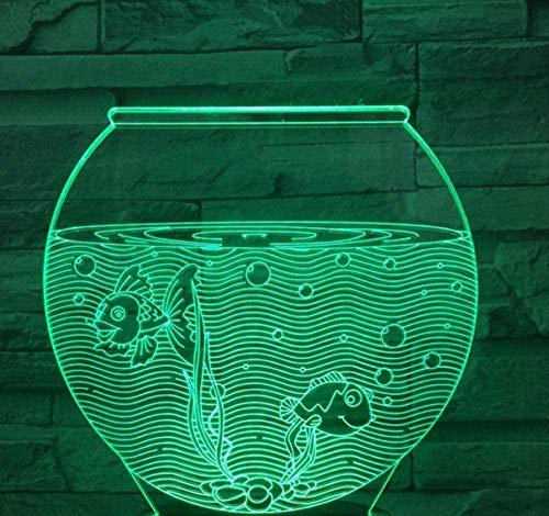 3D Illusion lampe Fish Tank LED Chambre décoration lampe, 7 Changement de Couleurs Tactile Veilleuse pour Bébé Chambre Décoration Enfants Cadeau