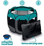 Ruff 'n Ruffus Portable Foldable Pet Playpen + Carrying Case & Collapsible Travel Bowl (Extra Large...