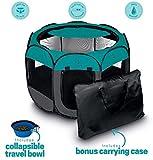 Ruff 'n Ruffus Portable Foldable Pet Playpen + Carrying Case & Collapsible Travel Bowl (Extra Large (48' x 48' x 23.5')) (Medium (29' x 29' x 17') with Free Bonus, Aqua)