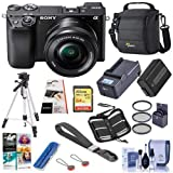 Sony Alpha a6100 Mirrorless Digital Camera with 16-50mm Lens - Bundle with Camera Case, 64GB SDHC Card, Spare Battery, Compact Charger, Tripod, LCD Protector Cover, PC Software Pack and More