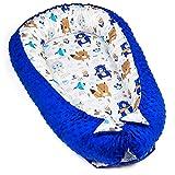 Amazinggirl Riduttore antisoffoco - Nido Neonato riduttori lettini Riduttore Culla Cotone con Minky Caldo (Visone Blu con Motivo Orso Bianco-Blu, 90 x 50 cm)