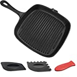 Square Cast Iron Skillet, OAMCEG 10.2 Inch Pre-Seasoned Grill Pan - Best Heavy Duty Professional...