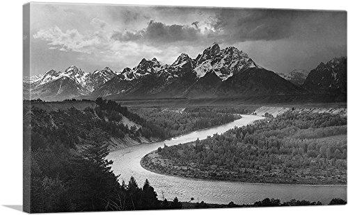 ARTCANVAS The Tetons - Snake River - Grand Teton National Park - Wyoming Canvas Art Print by Ansel Adams - 40  x 26  (0.75  Deep)