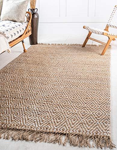 Unique Loom Teppich aus geflochtener Jute-Kollektion, handgewebt, Naturfasern, 2,4 m x 3,4 m