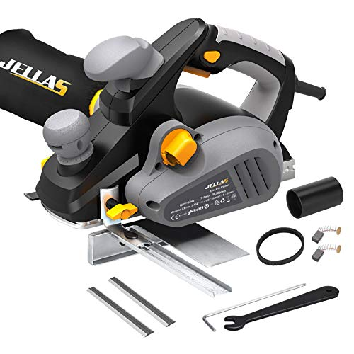 JELLAS Power Hand Planer, 16,500Rpm Electric Planer, 1/8 Inch Cut Depth and 3-1/4 Inch Cut Width, Dual-dust out System, Parallel Fence Bracket, 2 Rubber Belt and Carbon Brushes, 7Amp, EP01