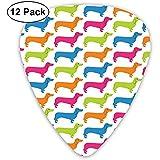 12 púas de púas de guitarra de paquete, patrón de perro colorido Conjunto de púas de guitarra de celuloide de diferente grosor