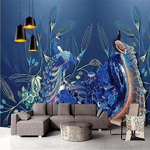 Muurschildering Custom 3D grote muurschildering behang Hd Blue Peacock pioenroos vogel TV sofa achtergrond muur woonkamer slaapkamer huis decoratie 200cm(H)×300cm(W)