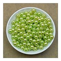 ZHAOCHEN ルーズスペーサービーズブレスレットネックレスチャームジュエリーの検索をマーキングジュエリー用の100pcsカラフルなラウンドパールビーズ8ミリメートル (Color : Green)