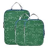 Juego de organizador de equipaje, cubos de embalaje de fórmula de ciencia química para viajes, accesorios de viaje expandibles, cubos de embalaje para equipaje de mano, viajes (juego de 3)