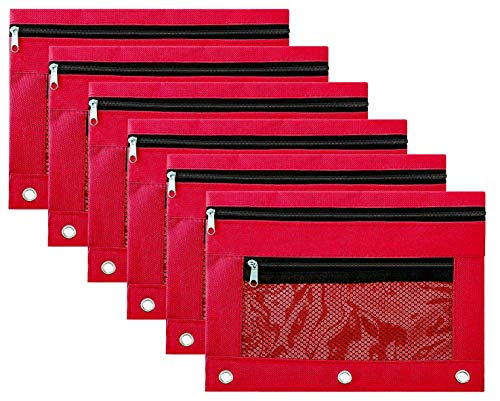 Pencil Case Pencil Pouch Zipper with 3 Ring and Double Pocket and Mesh Window(Red,6 Pack)